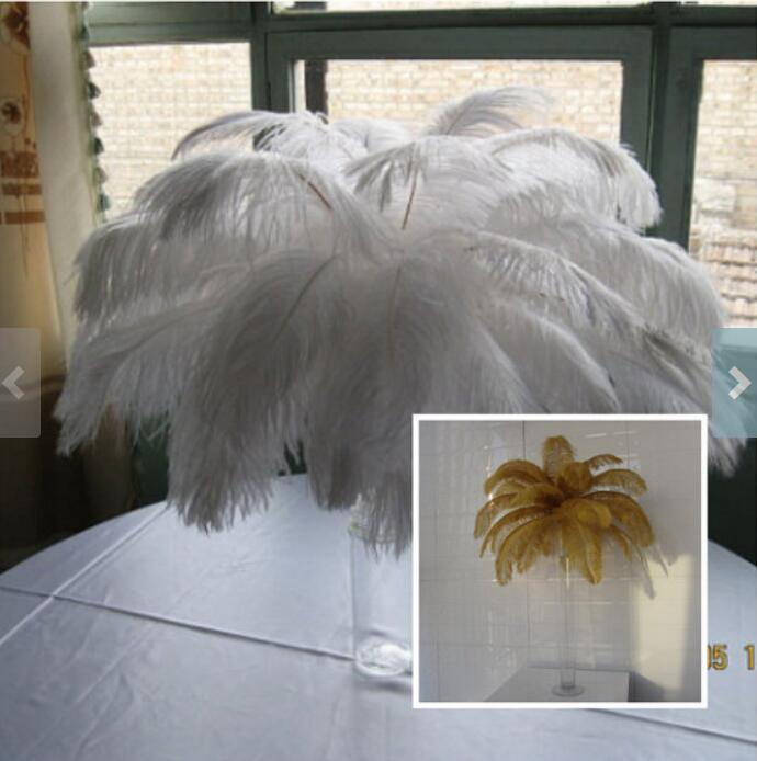 25pcs Gold,25pcs White ostrich feathers wedding table centerpiece,wedding table decoration,ostrich centerpiece
