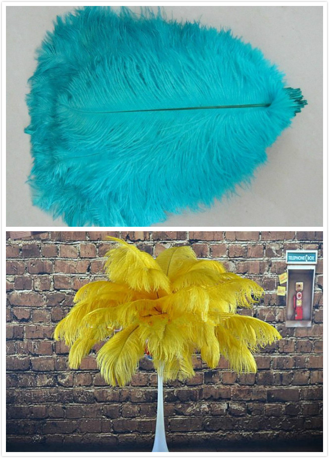 15pcs 14-16 inch(8 Gold and 7 Turquoise and 45pcs 16-18 inch(25 Turquoise and 20 Gold ) ostrich feathers