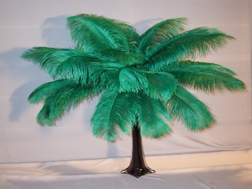 EMERALD GREEN OSTRICH DRAB FEATHERS 14-16''