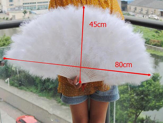 14pieces 80*45cm Large White Feather Fan Burlesque Dance feather fan Bridal Bouquet