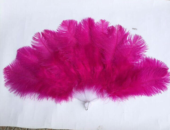 16pieces 60 centimeter large ostrich feather fans , Hot pink color