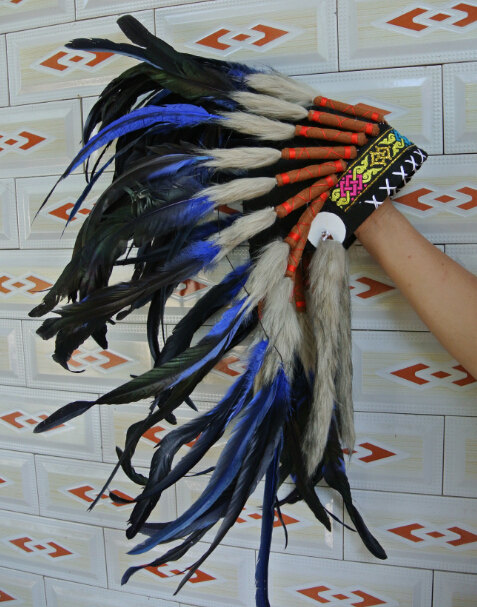 Warbonnet Ready to Ship Hand made Royal Blue Feather Indian Headdress Native American Costume Feathers War Bonnet Hat For Adult
