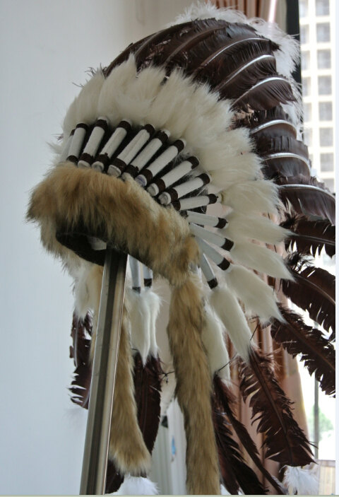 Brown Turkey Feather Indian Headdress Warbonnet Native American Costume Feathers War Bonnet Hat For Adult