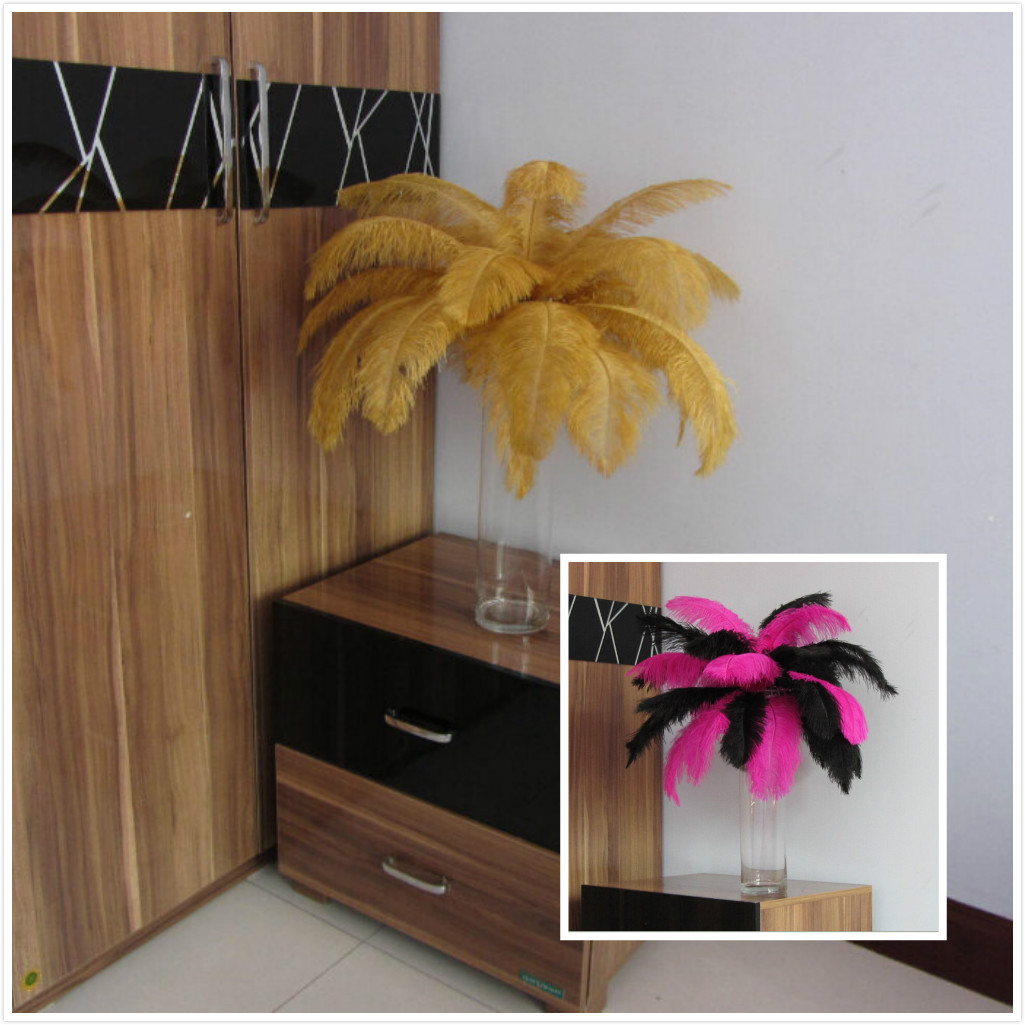 100 gold feathers 8-10 inch AND 100 Fuschia feathers 6-8 inch